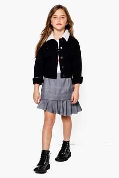 boohoo Girls Asymetric Hem Check Tape Skirt