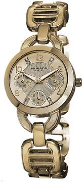 Akribos XXIV Multi-Function Gold Dial Gold-tone Base metal Ladies Watch