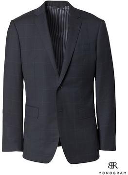 Banana Republic Slim Monogram Navy Windowpane Wool Suit Jacket