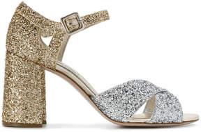 Miu Miu Gold & Silver 90 glitter sandals