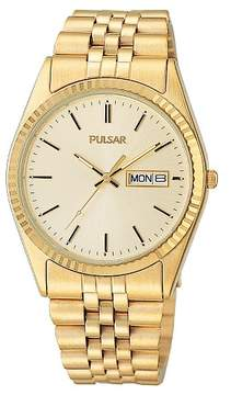 Pulsar Men's Calendar Watch - Gold Tone with Champagne Dial - PXF306