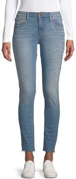 Driftwood Women's Jackie Cut-Off Faux Pearl Jeans - Light Wash, Size 29 (6-8)