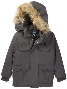 Urban Republic Microfiber Safari Jacket with Faux Fur Trim (Big Boys)
