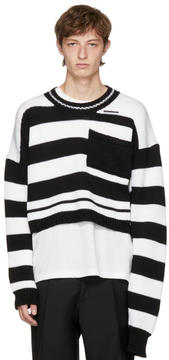 Raf Simons Black and White Disturbed Striped Sweater
