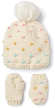 Gap Dotty pom-pom hat and mitten set