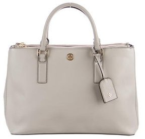 Tory Burch Leather Double-Zip Tote - GREY - STYLE