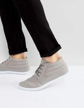 Asos Chukka Boots In Gray Canvas