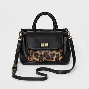 Merona Women's Leopard Spot Satchels with removable Strap - Merona Black