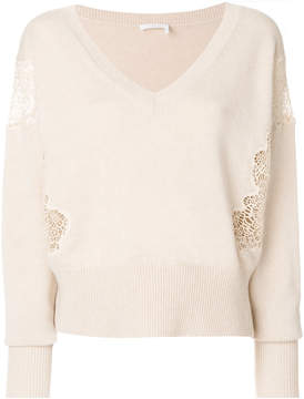 Chloé lace detail v neck sweater