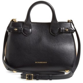 Burberry 'Small Banner' Leather Tote - Black - BLACK - STYLE