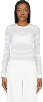 Calvin Klein Collection White Semi-Sheer Engineered Stripes Sweater