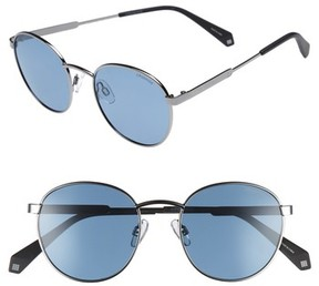 Polaroid Women's 51Mm Round Retro Polarized Sunglasses - Blue