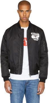 Moschino Black Milano Paint Bomber Jacket