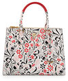 Prada Medium Debossed Floral Paradigm Tote Bag