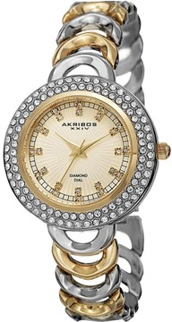 Akribos XXIV Gold Dial Two Tone Quartz Ladies Watch