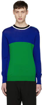 Kenzo Blue and Green Colorblock Cycling Sweater