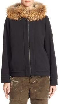 Brunello Cucinelli Fox Fur-Trim Jersey Zip Hoodie