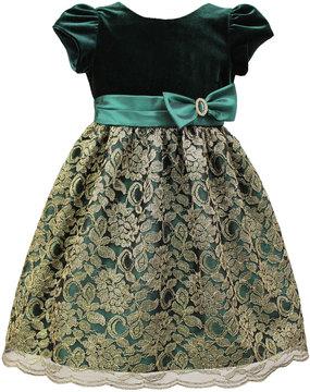 Sorbet Velvet & Lace-Overlay Dress, Size 2-6X