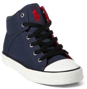 Ralph Lauren Colton Canvas High-Top Sneaker Navy/Red 3.5