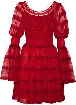 Alexander McQueen Stretch-knit Paneled Silk-blend Point D'esprit Mini Dress - Red