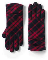 Lands' End Women's CashTouch Plaid Ruched EZ Touch Gloves-Vicuna Heather