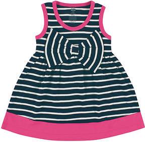 Hudson Baby Navy & Pink Stripe Bow A-Line Dress - Infant