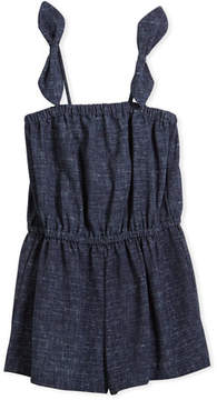 Milly Minis Stretch Crepe Tie Romper, Size 8-16