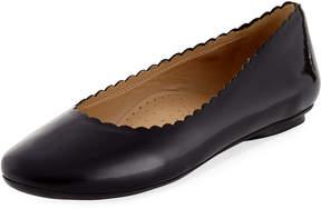 Neiman Marcus Sekia Scalloped Patent Ballerina Flat
