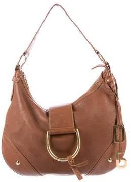 Dolce & Gabbana D-Ring Leather Hobo - BROWN - STYLE