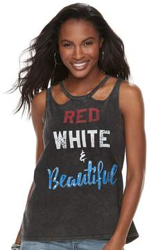Rock & Republic Women's Red White & Beautiful Graphic Tank