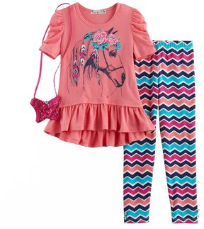 Knitworks Girls 4-6x Horse Ruffle Hi-Low Top & Chevron Leggings Set with Purse