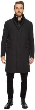 Cole Haan 39 Classic Topper with Knit Bib Faux Leather Trim Men's Coat