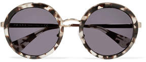 Prada Round-frame Acetate And Gold-tone Sunglasses - Tortoiseshell