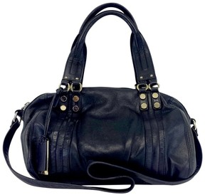 Pour La Victoire Black Duffle Style Leather Convertible Bag