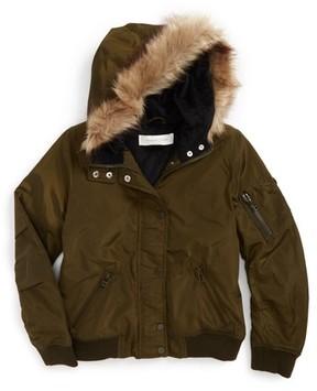 Treasure & Bond Girl's Hooded Bomber Jacket
