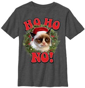 Fifth Sun Heather Charcoal Grumpy Cat 'Ho Ho No!' Tee - Youth
