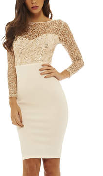 AX Paris White Lace-Accent High-Waisted Bodycon Dress - Women