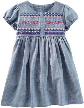 Osh Kosh Toddler Girl Embroidered Bodice Chambray Dress