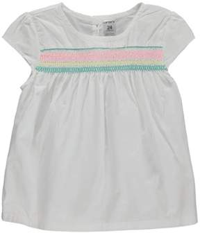 Carter's Baby Clothing Outfit Girls Smocked Poplin Top White