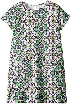Toobydoo Green Floral Shift Dress (Toddler/Little Kids/Big Kids)