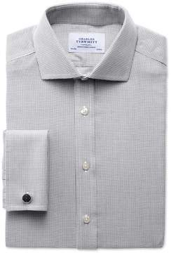 Charles Tyrwhitt Slim Fit Spread Collar Non-Iron Grey Cotton Dress Shirt French Cuff Size 15.5/33