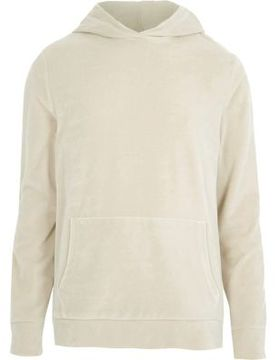 River Island Mens Stone velour long sleeve hoodie