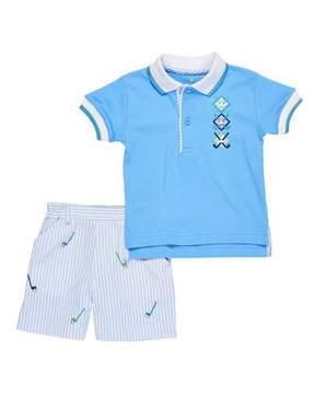 Florence Eiseman Golf Polo & Seersucker Shorts, Size 12-24 Months
