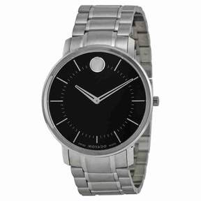 Movado Thin Classic Black Dial Stainless Steel Men's Watch 0606687