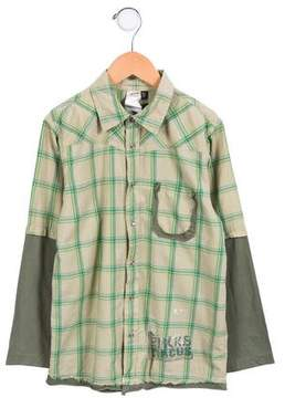Ikks Boys' Plaid Long Sleeve Shirt w/ Tags