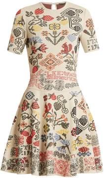 Alexander McQueen Cross-stitch intarsia A-line silk-blend dress