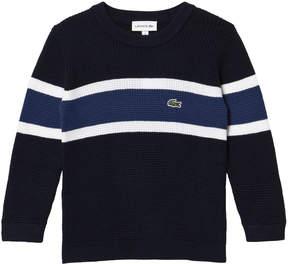 Lacoste Navy White Stripe Small Logo Sweater