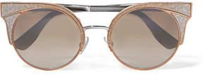Jimmy Choo Cat-eye Glittered Silver-tone Sunglasses