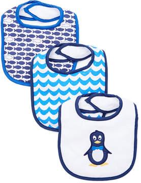 Luvable Friends Blue Mr. Penguin Three-Piece Drooler Bib Set