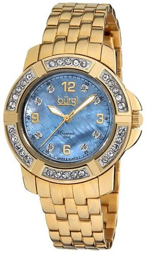 Burgi Mother of Pearl Dial Gold-tone Ladies Watch